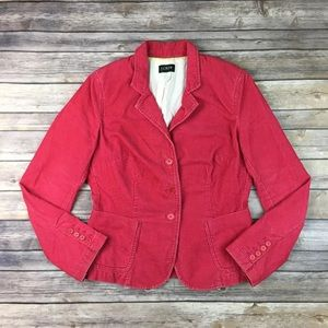 J. Crew Pink Corduroy 3 Button Jacket Stretchy